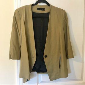Zara tan linen blend blazer